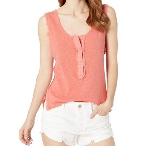 Free People Vacay Tank Linen Blend Pixie Coral
